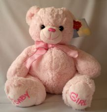 Nursery Bobby Bear Pink 30cm, soft toy.
